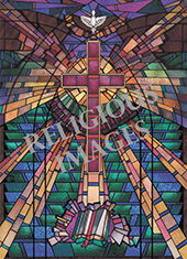 modern cross decorative stained glass window film design