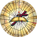 torch circle decorative stained glass window film covering design
