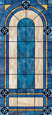 Decorative stained glass church window cling design