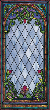 Stained glass applique film for church windows