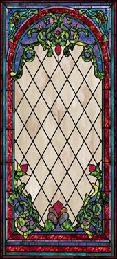 Stained glass applique film for church windows design