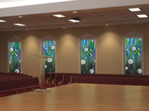 church window film in church setting