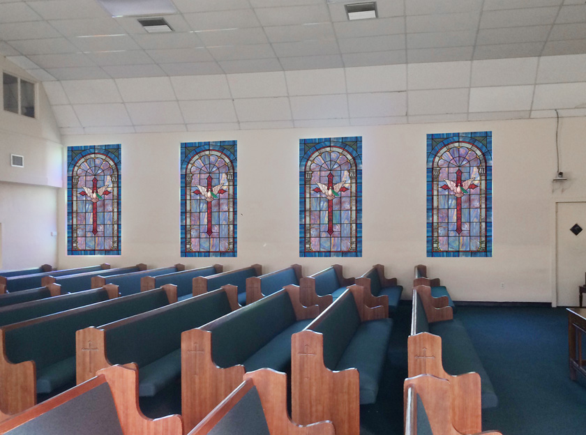 church window covering in church setting