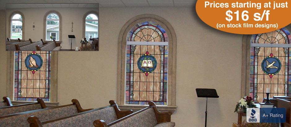 Church Window Film Decorative Stained Gl